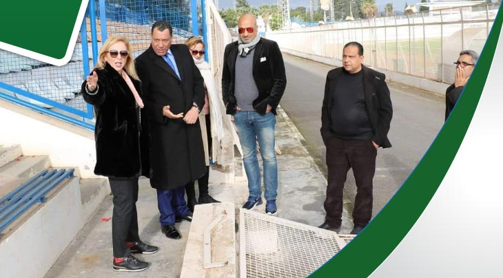 زيارة الوزيرة الى ملعب زويتن ومسبح البلفدير